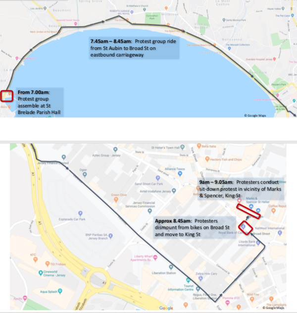 Extinction Rebellion protest route