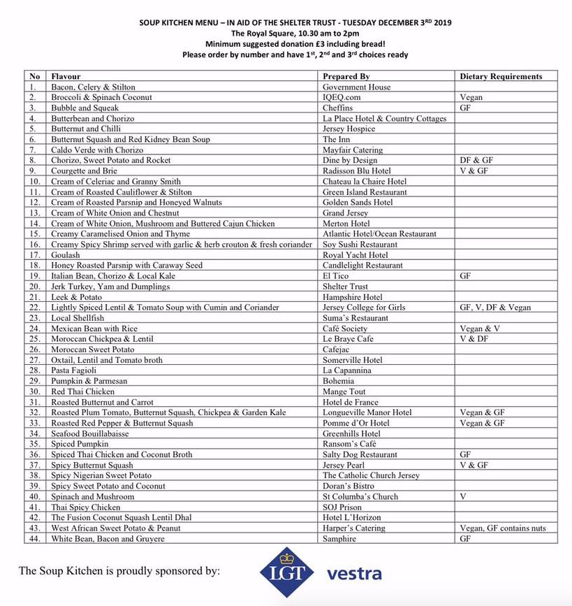 Full List Souper Menu Revealed For Annual Shelter Fundraiser Bailiwick Express