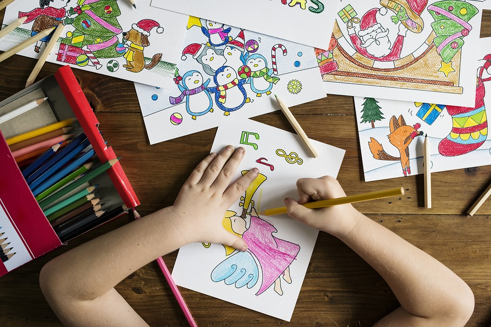 kids children colouring drawing playing school art