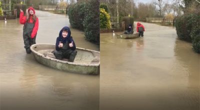 Tewkesbury family uses boat to get to and from home amid Storm Dennis floods