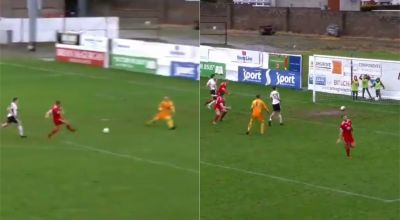 Footballer thwarted by muddy goalmouth that prompted premature celebration