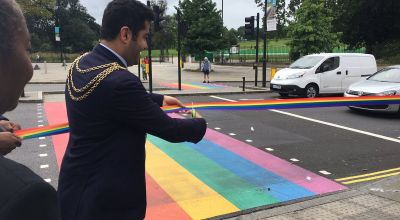 UK's first permanent rainbow crossing unveiled in London