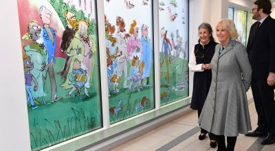 Camilla praises 'brilliant' Roald Dahl-inspired windows at children's hospital