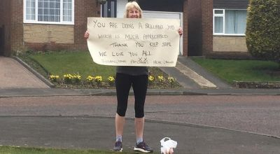 Woman runs to show support for care home staff