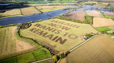 Brexit protest message ploughed in field