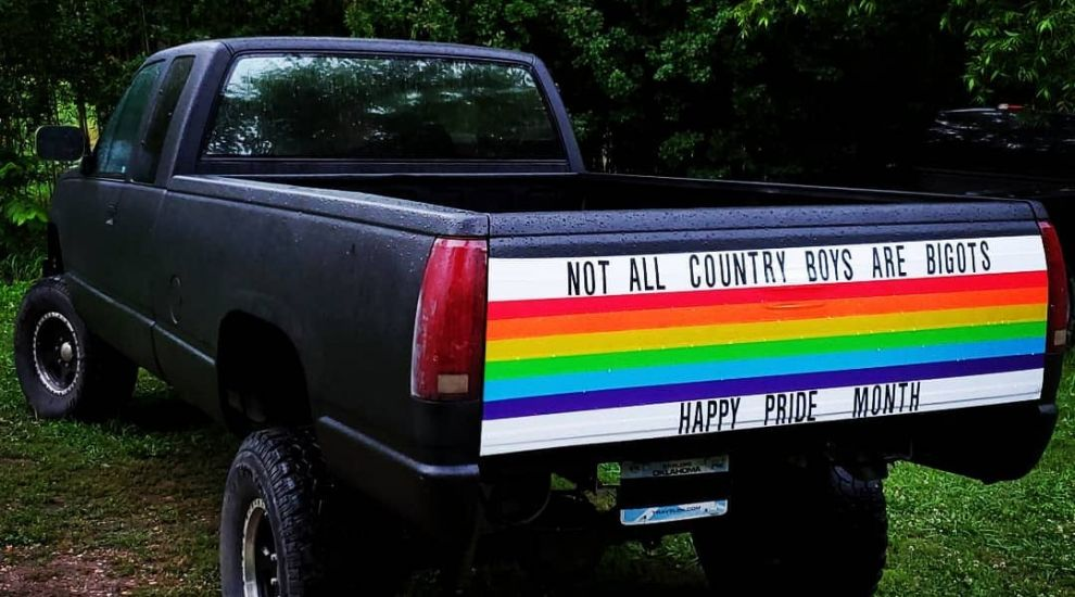 Oklahoma 'country boy' decorates truck with rainbow bumper sticker for Pride