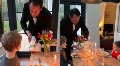 Tuxedo-clad dad holds swanky dinner party for young kids