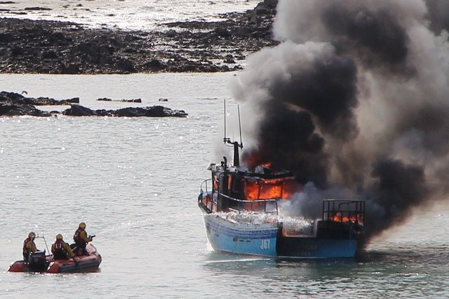 Explosions heard during Elizabeth Castle fishing boat blaze