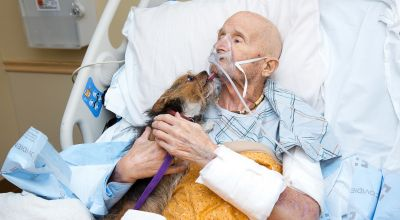 Veteran reunited with 'beloved' dog after being admitted to hospice centre