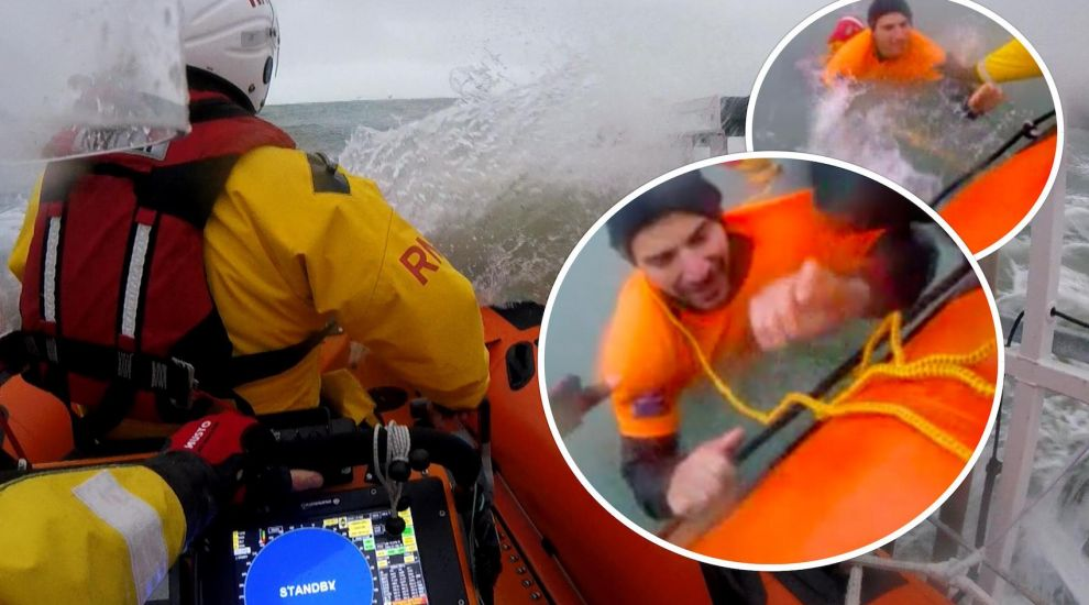 WATCH: Lifeboat battles storm to save kayaker