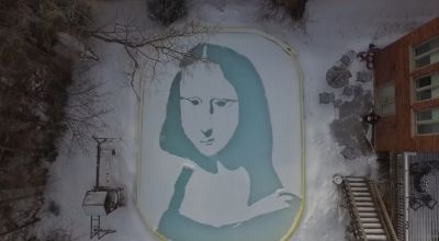 This guy shovelled the snow in his back yard into the Mona Lisa