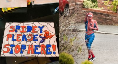 'Stockport Spider-Men' delight families in lockdown on daily jog