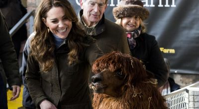 In Pictures: Kate meets lambs, alpaca and even a snake on farm visit