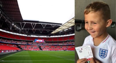 Five-year-old football fan's awe at first Wembley experience goes viral