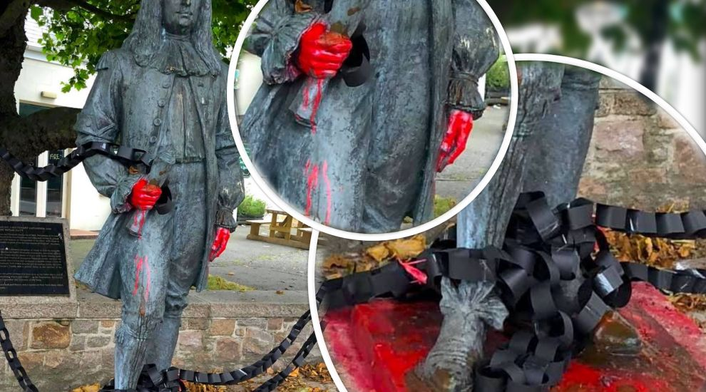 'Blood and chains' thrown over Carteret statue