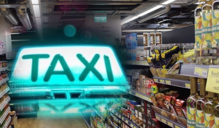 Supermarkets team up with taxis to deliver 'bags of basics'