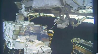 All-female spacewalking team carrying out battery work at space station