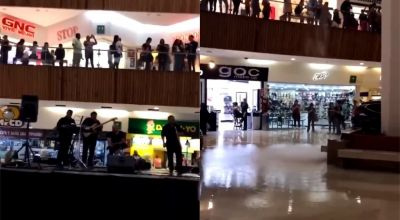 Mall band plays Titanic theme during flood