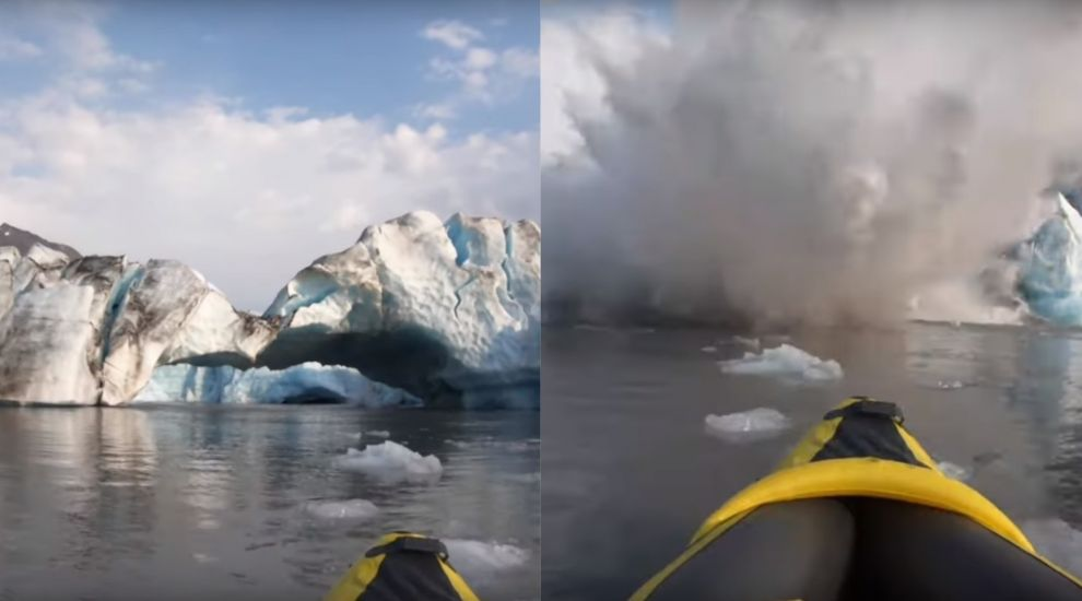 Kayakers 'lucky to be alive' after glacier collapses just metres away