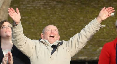 Emotional pensioner sees flypast dream come true 75 years after crash