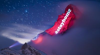 Switzerland's Matterhorn lit with messages of solidarity in coronavirus lockdown