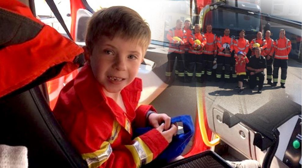 Brave boy becomes firefighting footballer ahead of heart surgery