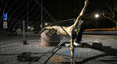 Zlatan Ibrahimovic statue overturned in Malmo
