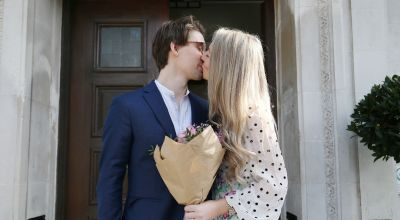 Virtually yours: Guests celebrate civil partnership with video call to ceremony