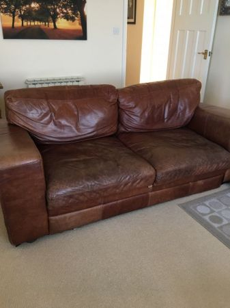 1 x 3 seater brown leather sofa