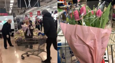 NHS workers given round of applause and flowers by Tesco staff