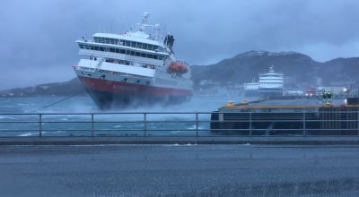 Dramatic footage shows cruise ship tilting in heavy winds