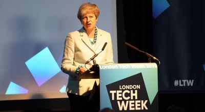 Theresa May praises UK sector as she opens London Tech Week